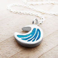 $56.00 Tiny  ocean wave necklace in silver and concrete by lulubugjewelry