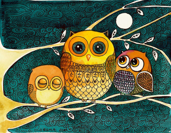 $12.99 Owl Print by sublimecolors on Etsy