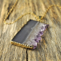 Sliced Amethyst Necklace Gold Druzy Necklace by LeaMarieDesigns