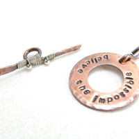 Handmade Copper Toggle Clasp Hand Stamped Inspirational Quote Jewelry Supplies