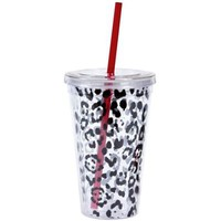 Leopard Print Double Wall Tumbler with Straw - Party City