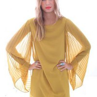 Yellow Cocktail Dress - Retro Inspired Yellow Chiffon Accordion | UsTrendy