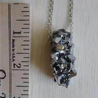 Druzy Geode Silver Rock Necklace