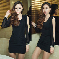 Sexy Womens Mini Dress Blacks Patchwork Chiffon Split Long Sleeve Party Beading