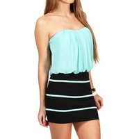 Black/Mint Color Block Dress