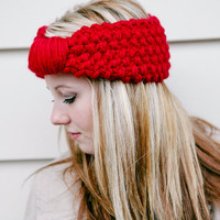 Cherry Knit Headband READY TO SHIP  Valentine Fashion