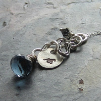 Sterling Horse Charm Necklace-Hand Stamped-Denim Blue Briolette-Horse Shoe