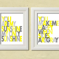You are my Sunshine Set of 2  Wall art print  8x10  by wallartshop