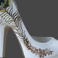 Multi Pumps / High Heels - CRYSTAL PEACOCK HIGH HEELS | UsTrendy
