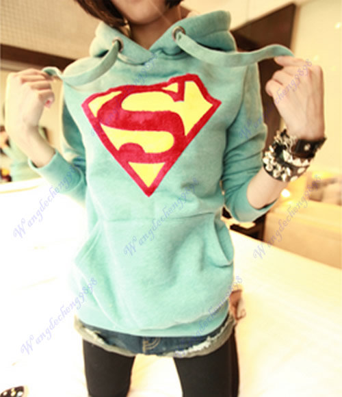 Womens Cute Superman Logo Long Sleeve Hoodie Casual Pullover Coat Tops Outwear