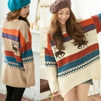 Oversized Deer Sweater (White)