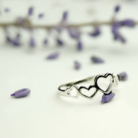 925 Silver Hollow Heart Ring on Luulla