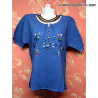 Blouse Hand Embroidered 100% Cotton | Cotton Clothing for Women: Embroidered Blouse | EcuadorianHands.com