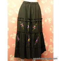Skirt Hand Embroidered 100% Cotton | Cotton Clothing for Women: Embroidered Skirt | EcuadorianHands.com