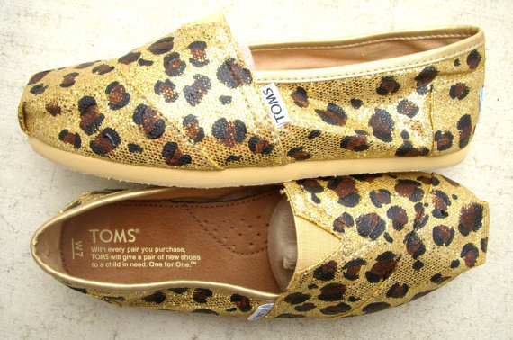 Cheetah Print Custom Painted on Gold Glitter TOMS by FruitfulFeet