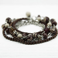 Brown Beaded Bracelet - Pearls, Leather Cord, Beads, Silver Plated Chain with Polymer Clay Chic Boho Bracelet - Beads Wrapped Bracelet