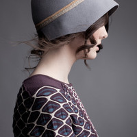 Geometric Cloche Hat in Grey