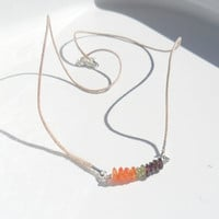 Necklace Carnelian Peridot Garnet Multi gemstone by Daniblu