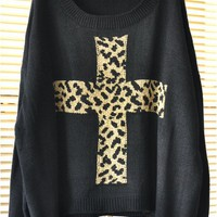Leopard Cross Loose Pullover Sweate.. on Luulla