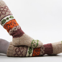 Knee high knitted socks with Scandinavian ornaments for by RGideas