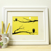 Owl Art Print - Animal Print - Fall Decor, Modern Owl Artwork, Animal Silhouette in Yellow, Black & White 5x7