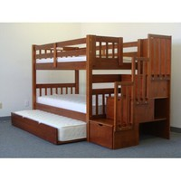 Amazon.com: Stairway Bunk Bed Twin over Twin in Expresso with 3 Drawers Built in to the Steps and a Twin Trundle: Furniture & Decor