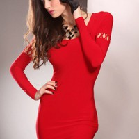 Red Scoop Neck Long Sleeves Cutout Sleeves Sexy Party Mini Dress @ Amiclubwear sexy dresses,sexy dress,prom dress,summer dress,spring dress,prom gowns,teens dresses,sexy party wear,women's cocktail dresses,ball dresses,sun dresses,trendy dresses,sweater d