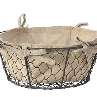 One Kings Lane - The Organized Pantry - Round Basket w/ Linen Liner