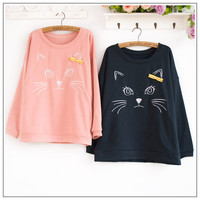 Ribbon Kitty Cat Sweatshirt❤Korean Japan/Korea top kawaii sweater fashion S-M