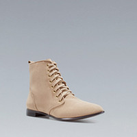 FLAT ANKLE BOOT WITH LACES - Shoes - TRF - ZARA United States