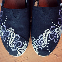 Youth - Floral Vine Henna Custom TOMS Shoes