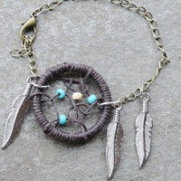 Dream Catcher Bracelet Brown and Turquoise