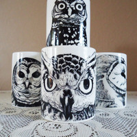 $36.00 Set of Four Black Owl Mugs by Nightowlhandmade on Etsy