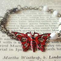 Monarch Butterfly Charm Bracelet for Women in Antique Brass - Repousse Butterfly Bracelet - Patina Jewelry