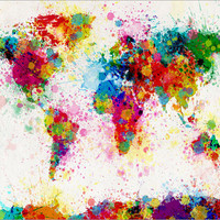 Paint Splashes Map of the World Map, Art Print 24x36 inch (168)