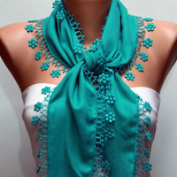 Teal Scarf  -  Pashmina Scarf  -  Cowl with Lace Edge