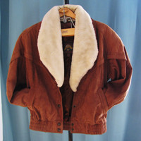 vintage sienna brown leather, suede Wilson bomber jacket with faux fur removable collar. unisex. hipster size S to L