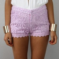 LILAC PASTEL PURPLE STAR FISH FLORAL CROCHETED LACE SCALLOPED HEM SHORTS S M L