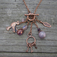 free bird  purple &amp; copper charm toggle by MamasNestDesigns
