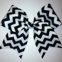 "3"" Black and White Chevron Cheer Bow"