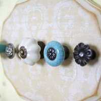 Necklace Hanger, Jewelry Display With Decorative Knobs, Tan and Light Blue