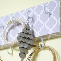 Quatrefoil Key Holder, Jewelry Display With Hooks