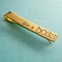 Like a Boss tie bar  hand stamped mens tie clip by SpiffingJewelry