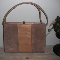 vintage suede and alligator print Purse ... handbag ... pocket book ... 1950