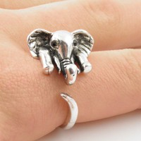 Silver Elephant Wrap Ring - SIZE 8