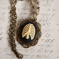 Ribcage gothic cameo necklace II  antique brass by VaeNox on Etsy