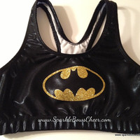 Batty Super Hero Metallic Sports Bra by SparkleBowsCheer on Etsy