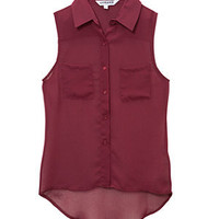 Teens Dark Red Dip Hem Sleeveless Shirt