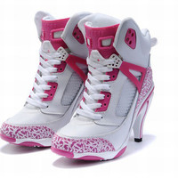 nike jordan 3.5 white and pink high heels ladies
