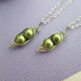 Two peas in a pod best friends necklace set